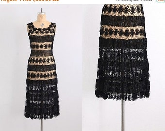 45% OFF SALE.... vintage 1930s dress - ribbon dress / crochet ribbon dress / 40s ribbon dress