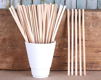 Wooden Beverage Stirrers, Hot Cocoa Stirrers, Coffee Stirrers, Thin Wooden Popsicle Sticks, Flat Wooden Sticks, Drink Stirrers (50)