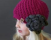 Crochet PATTERN Cumberland Beanie Girls Crochet Hat Pattern Includes 6 Sizes Newborn to Adult