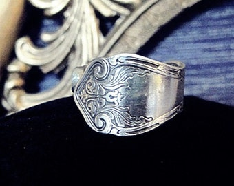 Size 8 Spoon Ring Silver Ware Jewlery Vintage Silver Spoon Ring