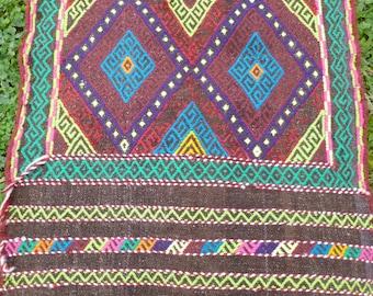 """Bright Runner Gazi hand woven Rug/Kilim/Tapis 6 ft 4"""" x 2 ft 193x 62 cm"""