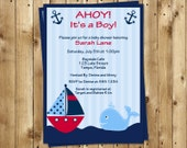 Nautical, Baby Shower Invitations, Ahoy Its a Boy, Whale, Red, Boat, Anchor, Stripes, Ocean, Blue, 10 Printed Invites, FREE Shipping, Custom