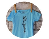 Pin Up Roller Derby Baby Onepiece, rollergirl infant creeper, one piece snapsuit, Light Aqua Blue, Short Sleeved Screen Printed Clothing