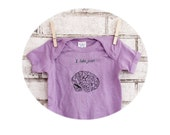 "Brains ""I Lobe You"" Onepiece, cotton baby bodysuit, Screen Printed, one piece snapsuit, Romper, Funny, Light Purple, Lavender, Lilac"