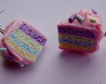 Pair of Pastel layer cake slice Silver plated hook earrings
