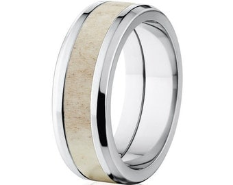 8mm Wide Antler Inlay Ring - 8T_AP_ANTLER