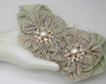Ecru Double Millinery Flower Applique with Czech Glass Pearl and Rhinestone Buttons
