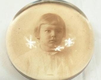 Turn of The Century CDV Glass Paperweight Intense Stare Child