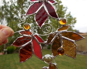 Stained Glass Maple Leaves-Suncatcher-Handmade-One of a kind-Unique Glass-Gift for her/him-Anniversary-Birthday-House Warming-Wedding-Decor