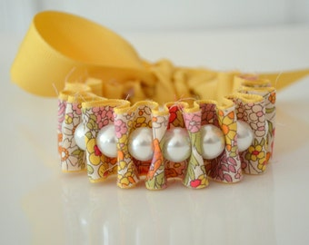 Liberty of London. Maize Yellow Libbie Ribbon Bracelet. Pearl Bracelet. Fabric Cuff. Gift for Her. Gift for Mom. Christmas Gift.