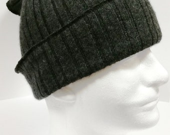 "Grunge Cashmere Beanie * Charcoal Gray * 100% Cashmere * M W * 22""-23"" * by Tejidos * Double Thickness * Convertible to Face Warmer"