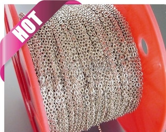 Best selling item / 1 meter 2.6mm x 2mm rhodium silver plated brass flat cable chain, jewelry chains, silver chain B011-BR