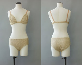 The one bikini | Burlesque two pieces made with golden shinny fabric | 1950's by cubevintage | extrasmall to small