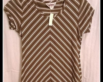Vintage LANGTRY Short Sleeve Blouse with Tag - Size L Large - Brown & White Stripes - Very Cute