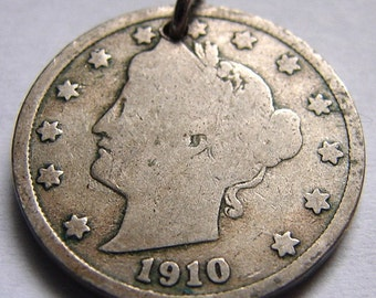1910 LIBERTY HEAD 5 CENTS Liberty Head nickel V nickel Coin Charm 0r for bracelet