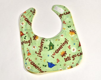 Baby Bib For Boy or Girl Bib, Camping, Colorful Infant Baby Shower Gift, Flannel Backing Feeding or Drool
