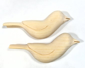 Unfinished Wooden Birds Craft Supply Wood Carving Sculpture Woodworking Christmas Craft Winter Decor