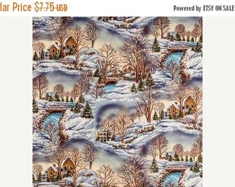 Gorgeous Country Winter Scene fabric--Nice Holiday Decor Fabric--Hard Find