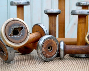 "Vintage Bobbins 4"" 5"" & 6"" Small Wooden Textile Mill Spools Cap Spinner w Steel Band Ends Home, Studio Decor Organize w Wood Bobbin Storage"