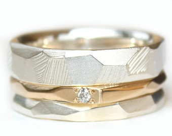Trail Rings Gold Diamond Wedding Stacking set Gold Wedding Band Argentium Silver Wedding band Custom made to fit HIS AND HERS