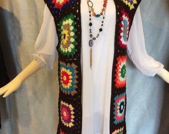 Gypsy Hippie Vest Sweater Top BROWN, Mixed Colors