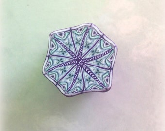 Polymer Clay Kaleidoscope Cane Periwinkle, Blue, Purple, White No. 2312