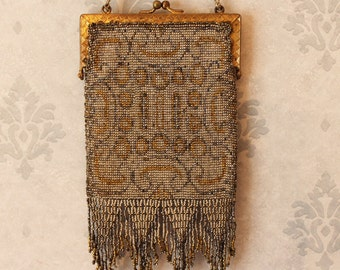 Vintage Art Deco Silver and Gold Micro Steel Beaded Purse with Fringe