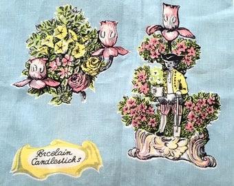 Vintage Lamont Porcelain Candlesticks Tea Towel