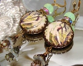 Butterfly fairy garden cabochon image bead charm Picasso earrings Pamelia Designs Sacred Jewelry