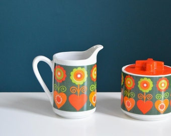 Vintage 1960s Flower and Heart Print Creamer and Sugar Set