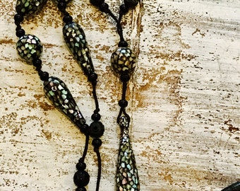 Rare Highly Collectable Long Victorian  PIETRA DURA Abalone Shell Black Resin Inlay Vintage Antique Necklace