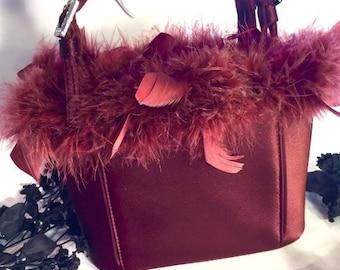 Valentines Lovers SALE Italian Designer Beautiful Burgundy Sateen Feather Boa Rhinestone Buckle Vintage Purse Hand Bag