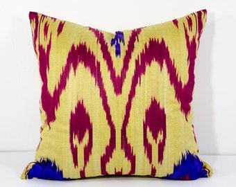 15x15 yellow burgundy cotton ikat pillow cover