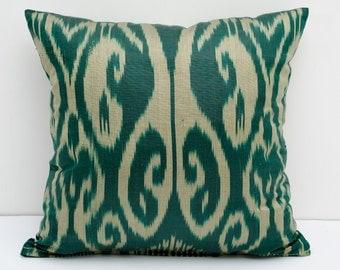 15x15 ikat pillow cover, green, beige, cushion case, ikat, ikats, pillows, sofa pillow, interior cushions, ikat design