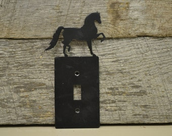 Horse, Equine, Western, Rustic, Black Finish Prancing Horse Switch Plate