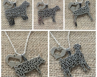 Livestock, Dairy Stainless Steel Filigree with Heart Charm Necklace - Steer, Cow, Pig, Goat, Lamb
