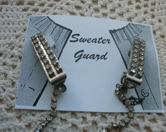 Sweater Clip Large Silver Tone Prong Set Rhinestones With A Rhinestone Single Chain FREE SHIPPING