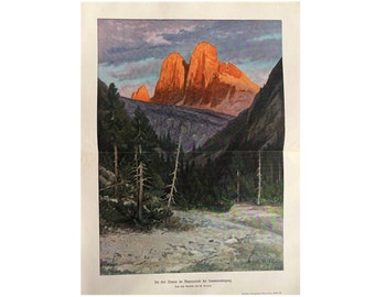 1900 THREE PEAKS at sunset in Ampezzo ITALY print original antique landscape mountain lithograph
