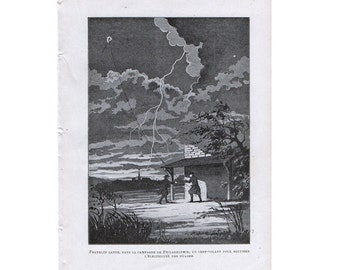 1913 LIGHTNING striking a kite print original antique weather storm lithograph - benjamin franklin launching a kite