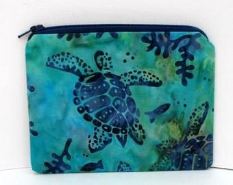 Small Zipper Pouch, Turtle Reef Batik, Hawaiian Sea Turtle