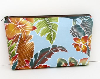 Cosmetic Zipper Pouch, Tropical Leaves, Road to Haleiwa, Make up Bag