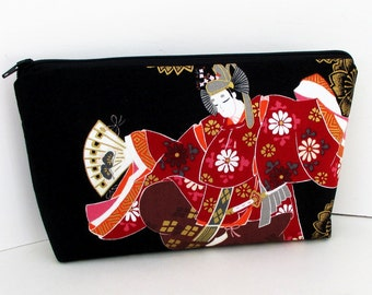 Zippered Make-Up Bag, Japanese Odoriko Dancers, Cosmetic Zipper Pouch Black