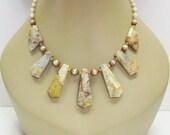 SALE Golden Yellow Crazy Lace Agate Necklace - Statement Necklace - Gemstone Necklace - Womens Necklace - Tan Necklace - Multicolor Necklace