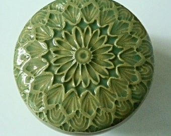 Mint Green Lidded Jar Hand Carved  Flowers Jewelry  Box Flowers and Leaves Pottery