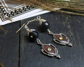 Reserved! LILITH. Upcycled Burgundy Victorian Rhinestone flourish elements and black obsidian earrings