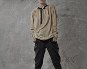 Black tying stone washed denim cotton baggy pants