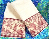 """RED TOILE Farmer's Life Fabric Red Gingham Trim on (2) Cream Hand Towels Measure 16"""" x 28"""""""