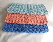 Beach Crochet Cotton Wash Cloths / Set of 3 / Cotton Dish Cloths / Price Reduced
