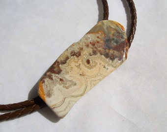 "Agate Stone Bolo Tie With Braided Brown Leather 45"" Tie Chord and Golden Feather Tips"