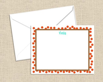 Personalized flat note cards with envelopes - set of 10
